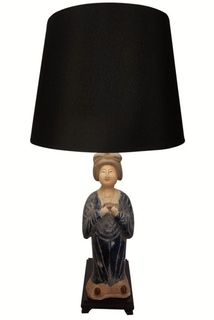 Blue Ceramic Tong Lady Table Lamp