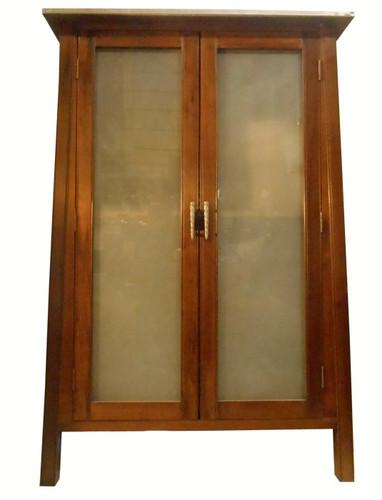 Asian Steel Top Cabinet With Glass Doors In Oriental Wood