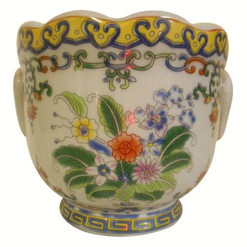 Floral Painted Porcelain Cachepot