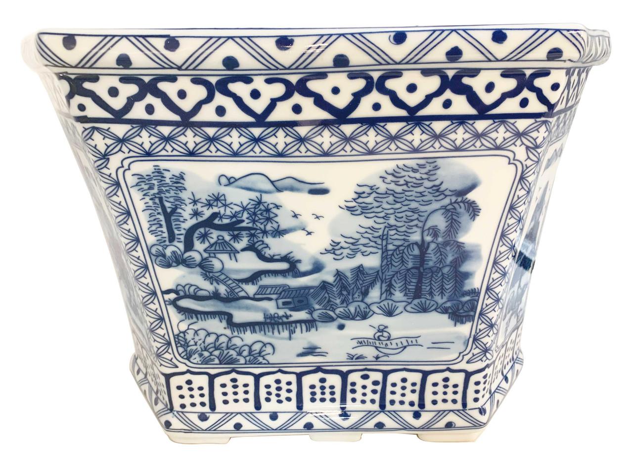 Beautiful Blue and White Floral Porcelain Hexagonal Pot