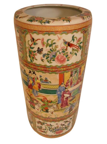Umbrella Stand In Chinese Porcelain Rose Medallion Design