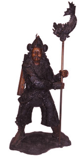 Bronze Japanese Warrior with Staff