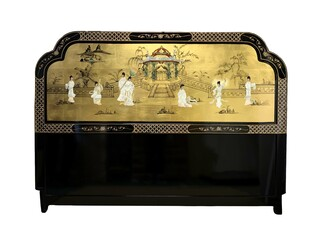 Gold Leaf Oriental Head Board with Mother Of Pearl Pagoda Scene