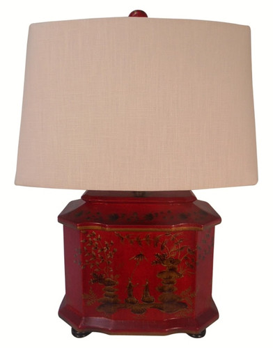Oriental red lacquer table lamp