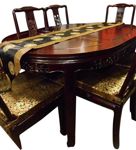 Chinese Dining Table and Chairs, carved rosewood bird and flower ...