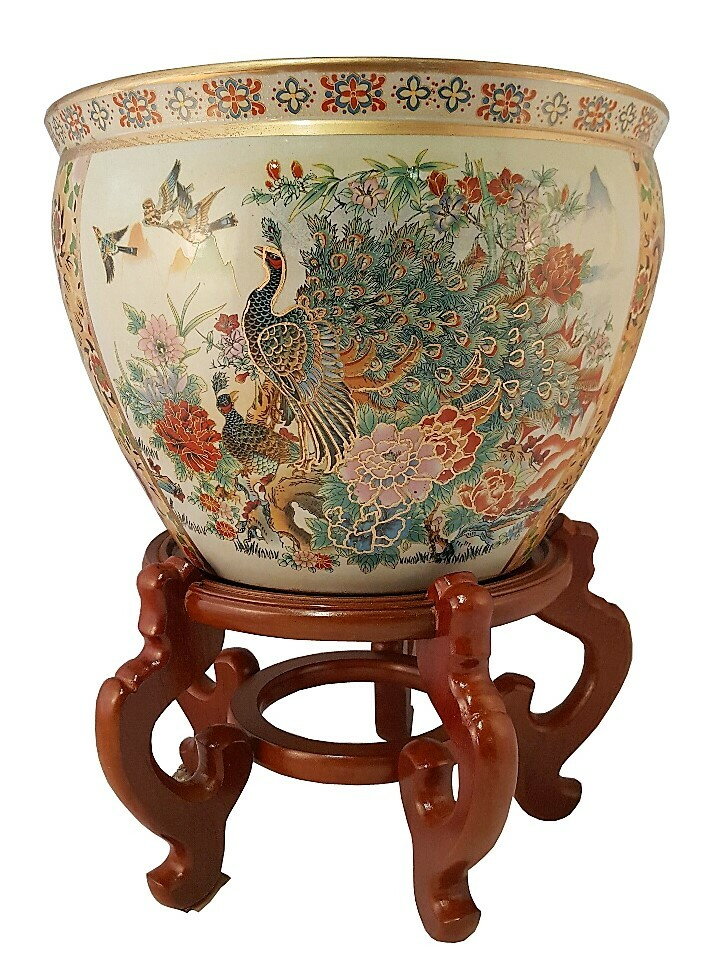 Fishbowl Planter In Chinese Satsuma Style Peacock For Garden