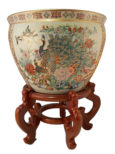 Fishbowl Planter In Chinese Satsuma Style Peacock For