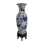 """24"""" H Blue and White Chinese Foo Dog Vase"""