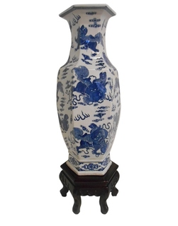 "24"" H Blue and White Chinese Porcelain Foo Dog Vase"
