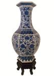 """21""""H Blue and White Hexagonal Porcelain Vase"""