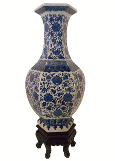 "21""H Blue and White Hexagonal Porcelain Vase"