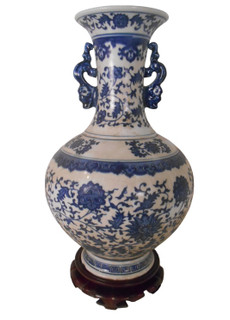Chinese ball vase with dragon handle