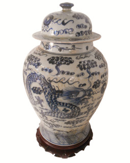 "18"" H Blue and White Dragon Jar"