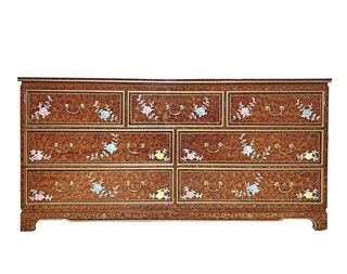 "64"" Oriental Dresser inlaid Mother of Pearl Floral Design"
