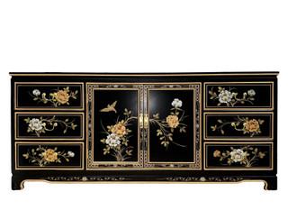 """72"""" Oriental Dresser Hand Painted Gold Florals"""
