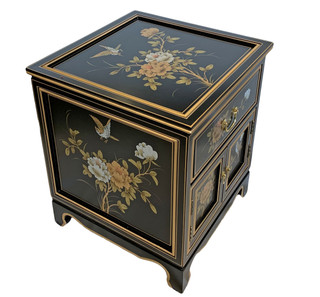 Black lacquer Oriental Commode Hand Painted Floral