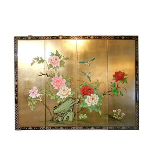 Gold Leaf Bird , Flower and Rock Asian Art Painting.