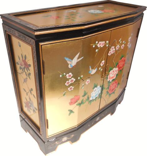 Gold Leaf Oriental Slant Front Cupbord