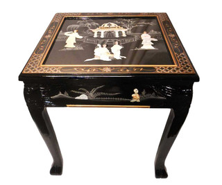 Dragon Leg Oriental End Table Inlaid Pearl with Gloss Lacquer
