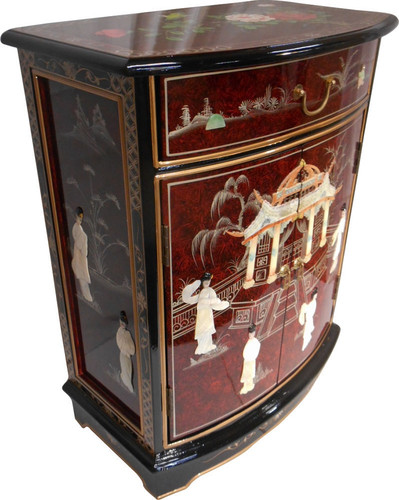 Red oriental cabinet hand painted asian decorative for Oriental furniture for sale