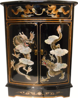 Round Front Dragon Lacquer Cabinet