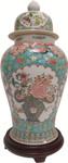 Floral Turquoise Glazed Jingdezhen Porcelain Temple Jar