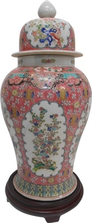 Famile Verte Coral Glazed Jingdezhen Porcelain Temple Jar Oriental Furnishings