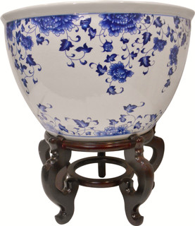 Blue And White Porcelain Jardiniere For Indoor Or Outdoor