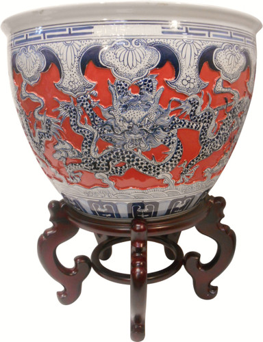 Carved dragon fish bowl by Oriental Furnishings