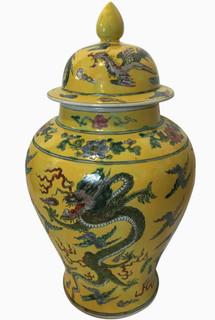 Chinese yellow dragon jar