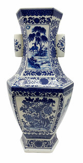 Large Blue and White Chinese Vase With Handles