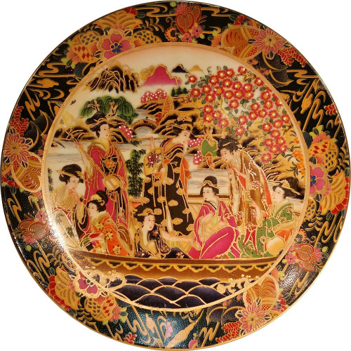 Decorative Japanese Porelain Plate With Stand Oriental