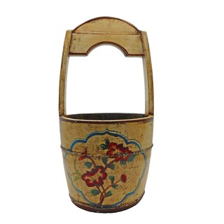 Painted Tibetan Water Bucket with Handle