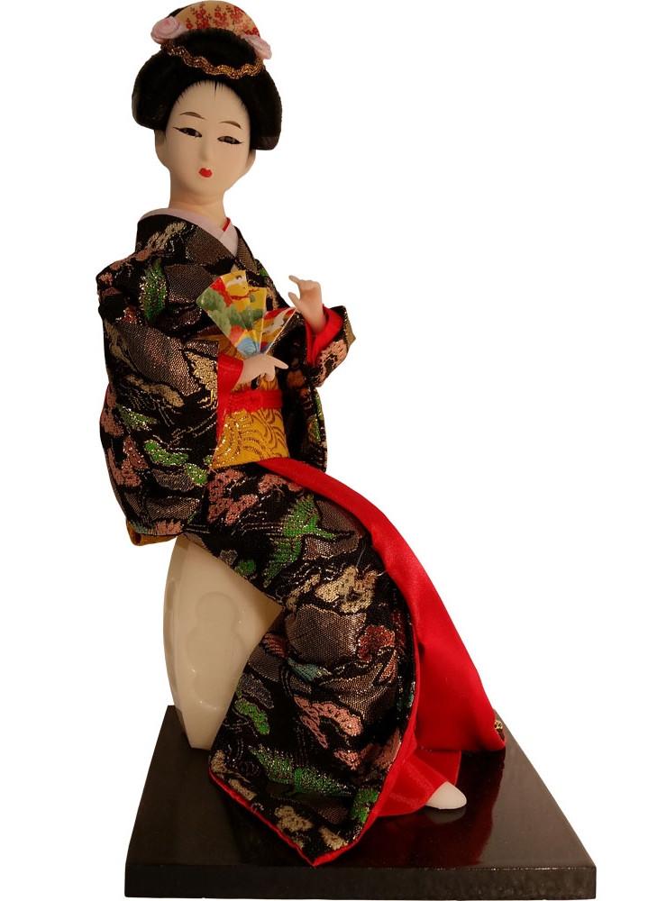 Asian Doll Of Sitting Geisha On Garden Stool 10 5 H