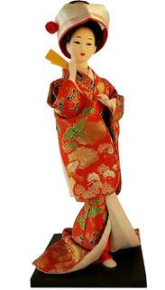 Oriental Silk Doll Orange Kimono