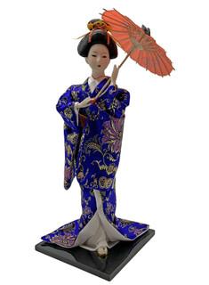 """Blue Kimono Japanese Geisha Doll Dancer 16""""H"""
