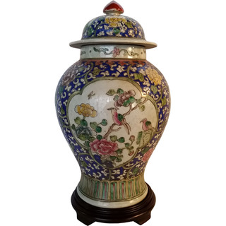 Hand Painted Floral Chinese Porcelain Jar