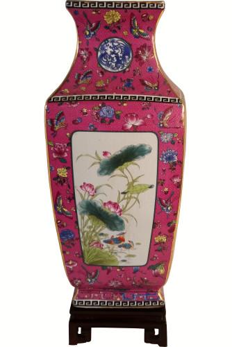 Porcelain Square Vase Glazed Bird and Flower
