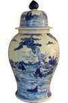 "Porcelain Jar 36"" H Blue and White Landscape Glazed"