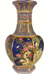 Asian Vase in Blue Cobalt Glaze