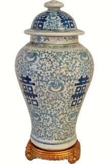 Temple Jar Chinese Porcelain Double Happiness Blue and White Glaze