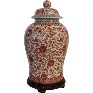 Red and White Chinese Glazed Temple Jar.