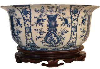 Porcelain Blue and White Floral Porcelain Basin