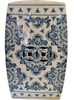 Blue and White Porcelain Square Garden Stool