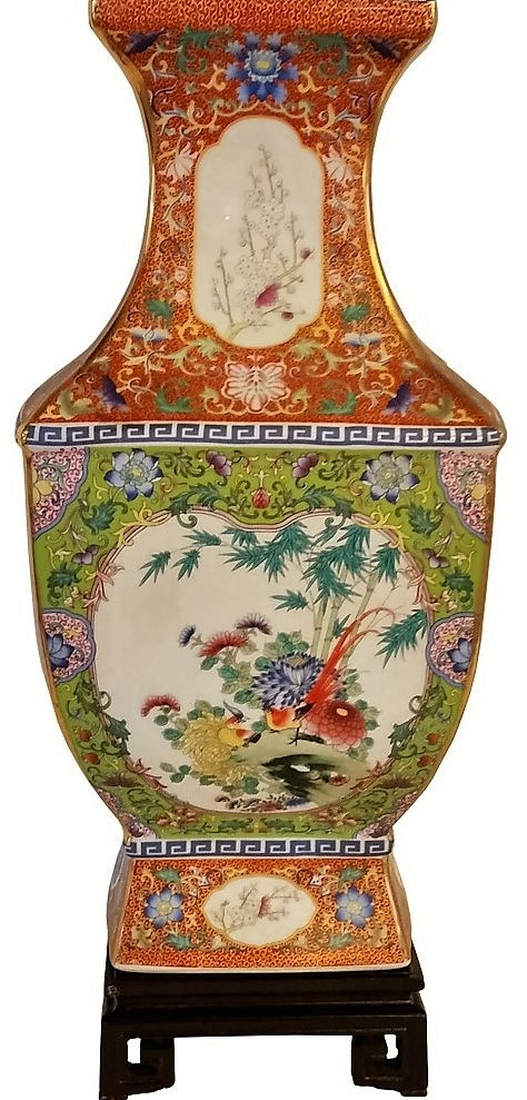 Chinese Porcelain Vase Gold Line And Lime Green 18 5 Oriental Furnishings Furniture Amp Decor