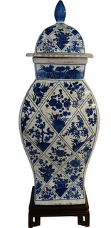 Asian Ceramic Square Temple Jar in Blue and White Floral Diamonds