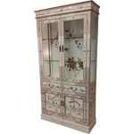 Oriental China Cabinet White Lacquer with Inlay Pearl