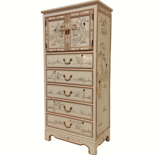 White Lacquer Chest of Drawers Oriental Furnishings