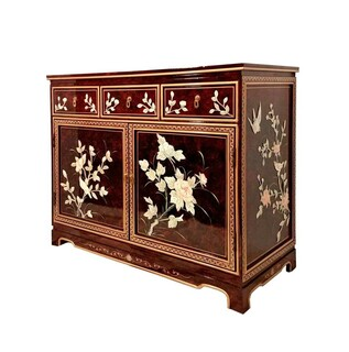 French Red Lacquer Buffet with Inlaid Bird and Flowers Mother Of Pearl