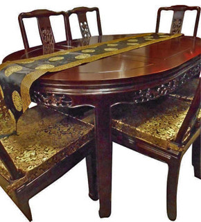 Dinning Table Rosewood Carved Oriental Bird and Flower